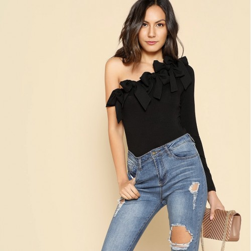 Bow Embellished One Shoulder Bodysuit