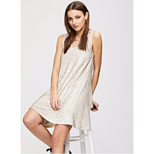 V Neck Sequin Trapeze Dress