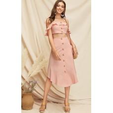Elena Crop Top & Buttoned Skirt Set