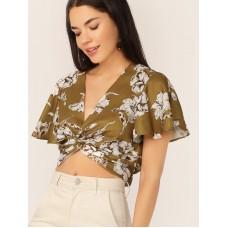 Floral Flutter Sleeve Twist Crop Top
