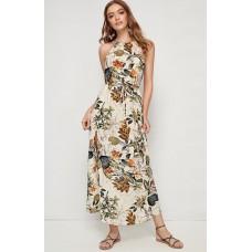 Tropical Print Belted Halter Dress