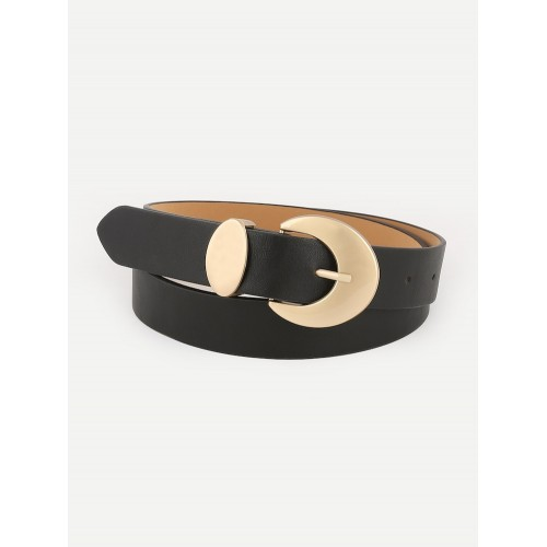 Metal Buckle Belt in Black