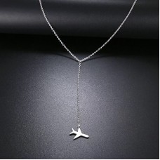 Airplane Lariat Necklace in Silver