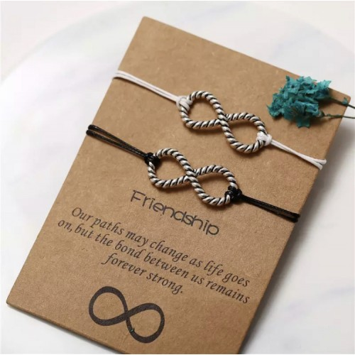 Infinity Friendship Bracelets in Black and White