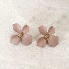 Flower Stud Earrings in Mauve