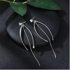 Crystal Fishtail Silver Drop Earrings