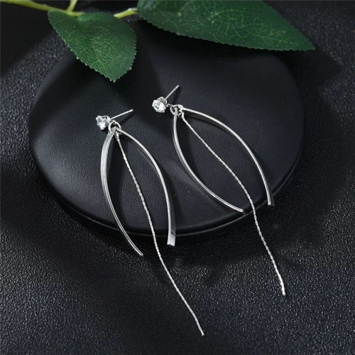 Crystal Fishtail Silver Drop Earrings