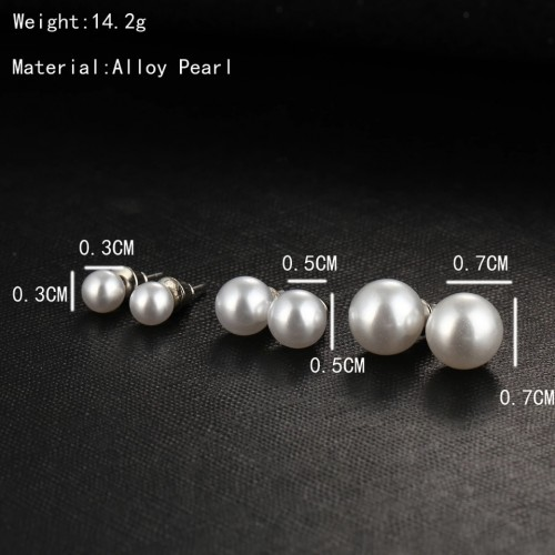 Faux Pearl Ear Studs Large