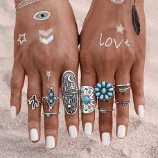 Turquoise Vintage Silver Ring Set