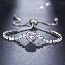 Heart CZ Bracelet in Silver