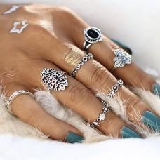 Boho Vintage Silver Ring Set