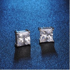 Crystal Square Stud Earrings 8mm