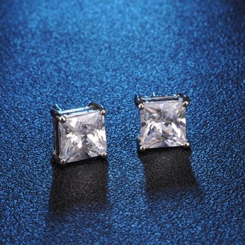 Crystal Square Stud Earrings 4mm
