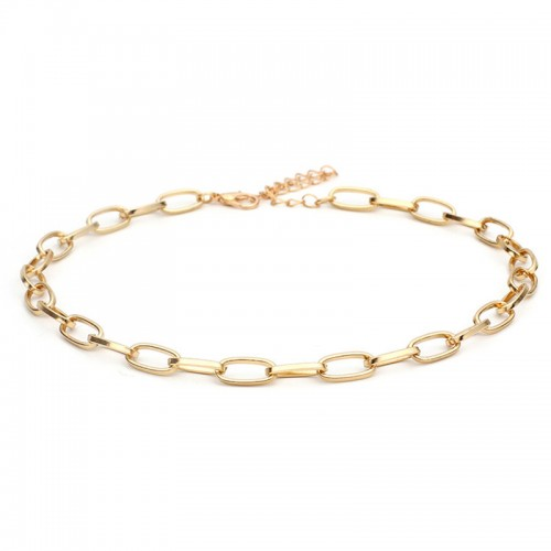 Chain Link Choker Necklace in Gold