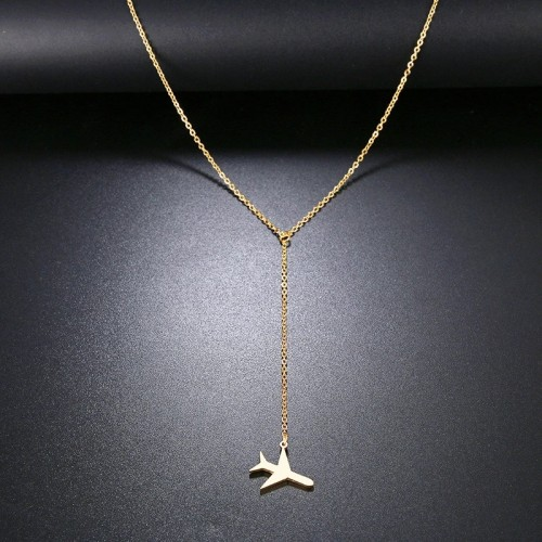 Airplane Lariat Necklace in Gold