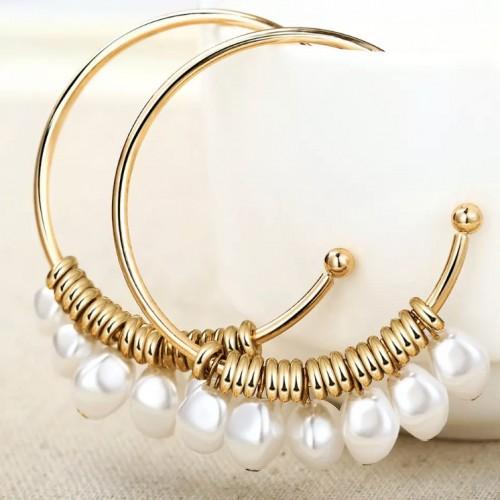 Santorini Pearl Hoop Earrings