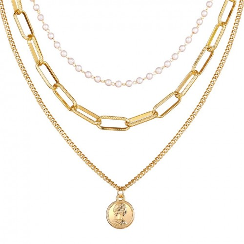 Alexis Pearl Coin Layered Necklace
