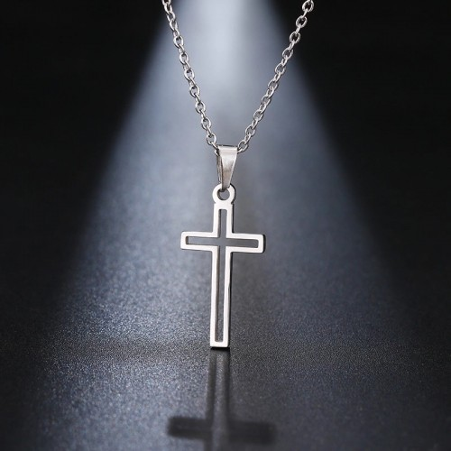 Cross Pendant Necklace in Silver