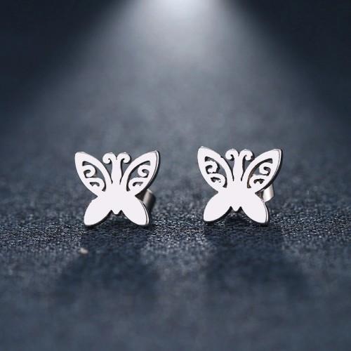 Butterfly Stud Earrings in Silver