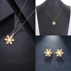 Golden Snowflake Necklace and Earrings Set