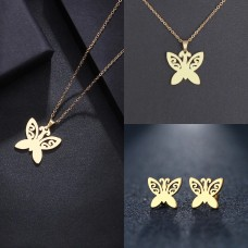 Golden Butterfly Necklace and Earrings Set