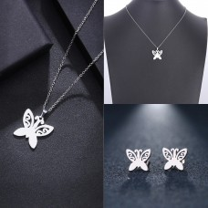 Silver Butterfly Necklace and Earrings Set