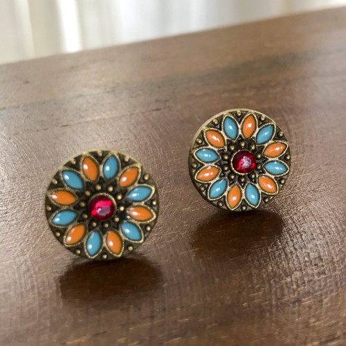 Flower Child Warm Hues Stud Earrings