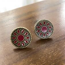 Flower Child Wine Red Stud Earrings