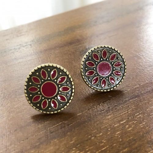 Flower Child Wine Red Stud Earrings
