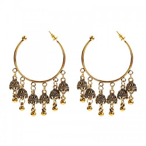 Ethnic Tassel Desi Hoop Earrings
