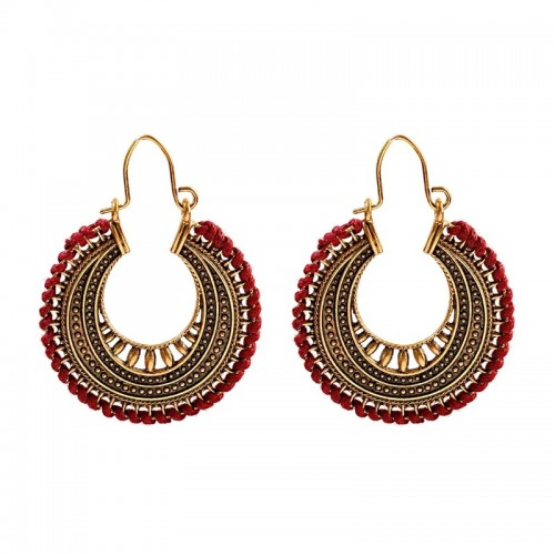 Dull Gold Red Desi Hoops