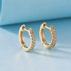 Rhinestone Mini Hoops in Gold
