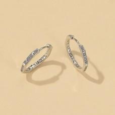 Rhinestone Mini Hoops in Silver