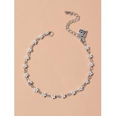 Floral Silver Anklet