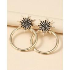 Rhinestone Star Round Earrings