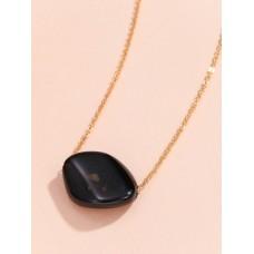 Black Stone Charm Necklace