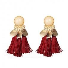 Coin Tassel Boho Earrings in Wine Red