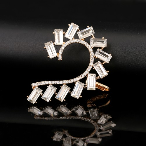 Square Zircon Ear Cuff in Gold Plate