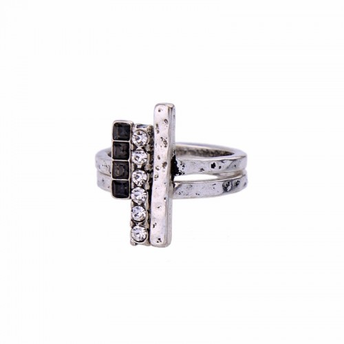 Antique Silver Tri Bar Ring Set (2Pcs)