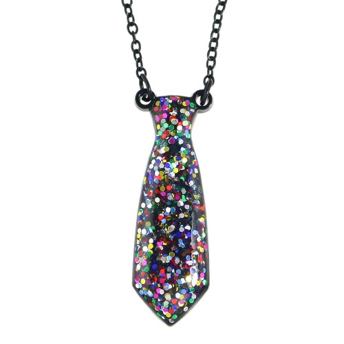 Acrylic Glitter Tie Necklace