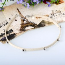 Beaded Suede Choker in White