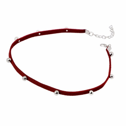 Beaded Suede Choker in Wine Red