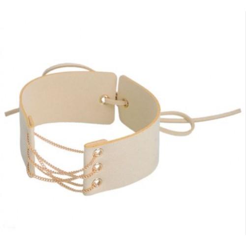 Chain Link Collar Choker in Beige
