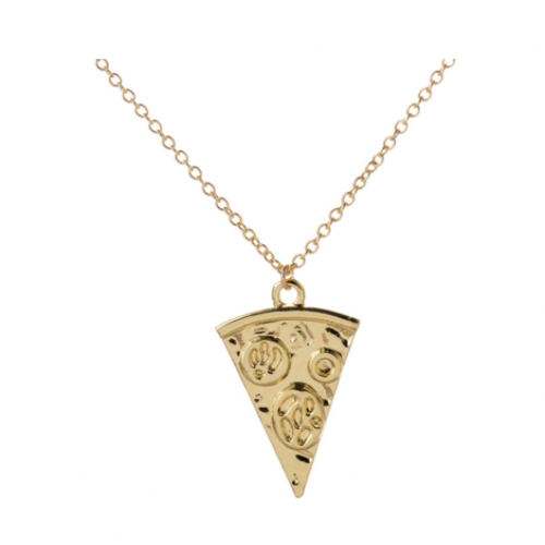 Pizza Lover Necklace in Gold