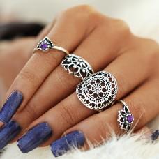 Violet Silver Ring Set