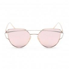 Geometric Cat Eye Sunglasses in Rose Gold